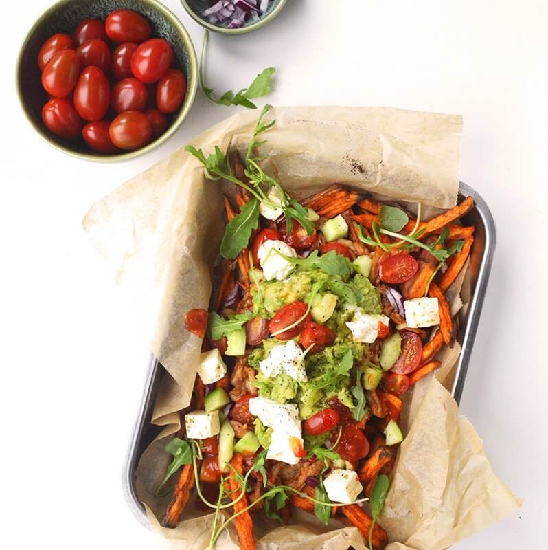Loaded sweet fries pulled chicken